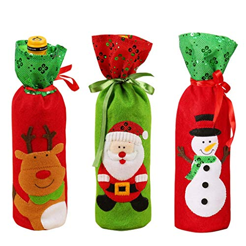 Missshorthair Christmas Drawstring Wine Bottle Covers Bags, Kitchen Sequin Ornament of 3 Pcs Set