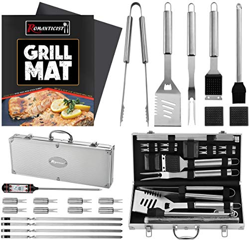 ROMANTICIST 23Pc Heavy Duty BBQ Grill Tool Set with Grill Mat- Great Grill Gift for Groomsmen Men Women Dad - Stainless Steel Outdoor BBQ Grilling Utensils Kit with Grill Thermometer -