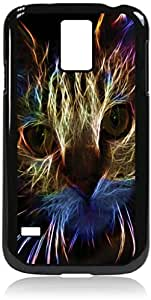 Neon Cat Art- Case for the Galaxy S5 i9600- Hard Black Plastic Snap On Case