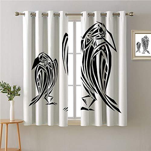 Jinguizi Crow Grommets Curtain Door Panel,Ethnic Style Artistic Illustration of Two Birds Ornamental Animal Design Print,Sunbeams Isolated Darkening Curtains,63W x 45L