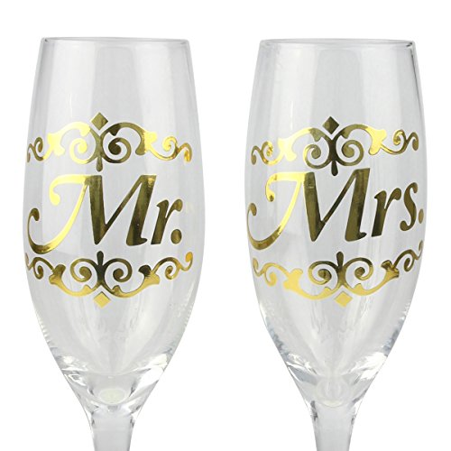 Top Shelf Decorative Gold Mr and Mrs Champagne Glasses, Bride and Groom Champagne Flutes, Thoughtful Wedding Gift for Newlyweds, Set of 2