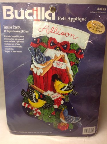 (Bucilla 1998 Winter Birds Jeweled Felt Applique Needlepoint Kit 18