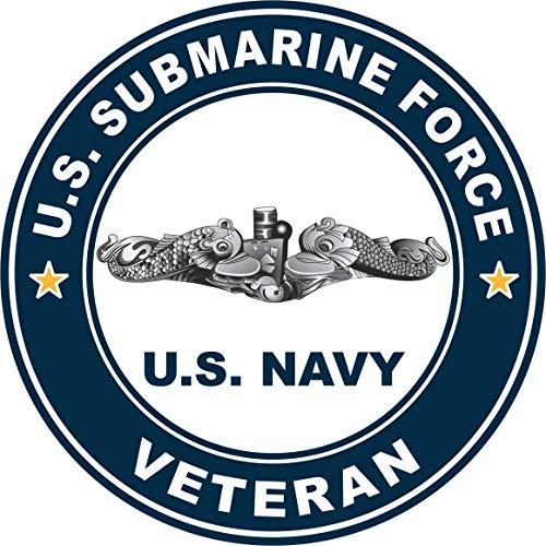 US Navy US Submarine Force Veteran Silver Dolphins Military Veteran Served Window Bumper Sticker Vinyl Decal 3.8