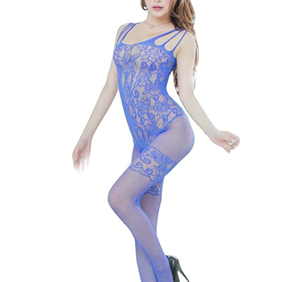 Lenceria erotica de mujer,VENMO Mujeres florales abierta entrepierna malla bodys monos liguero (azul