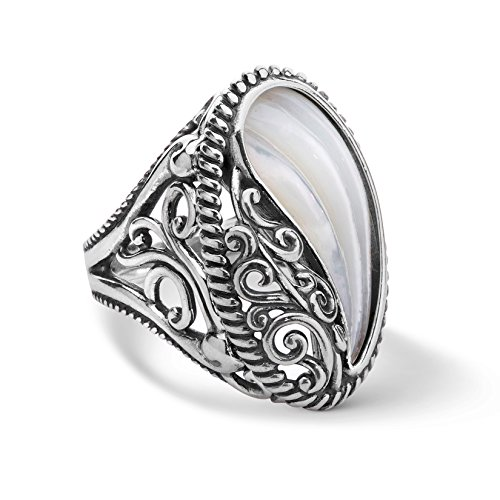 Carolyn Pollack - Sterling Silver Carved White Mother of Pearl Oval Ring - 7 - Wings Collection - Wide Split Shank Ring