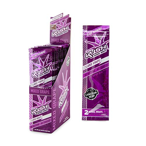 Kush Hemp Wraps - Herbal Wrap - Large Size - 2 Wraps/Pack, 25 Pack Display Box - (Mixed Grape)