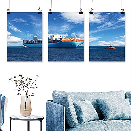SCOCICI1588 3 Panels Triptych tugboats Assist Container Cargo Ship to Harbor for Home Modern Decoration No Frame 24 INCH X 47 INCH X 3PCS