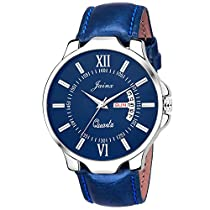 Jainx Blue Day And Date Round Dial Analogue Watch For Men &