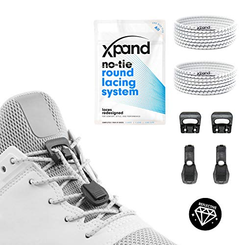 Xpand Quick Release Round-Lacing No Tie Shoelaces System with Elastic Laces - One Size Fits All Adult and Kids -