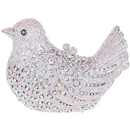 Carteras Negro Cadena Mano Fiesta Diamantes Brillo Boda Mujer Bolsas Silver04 Embrague Noche Bolso rqafPr