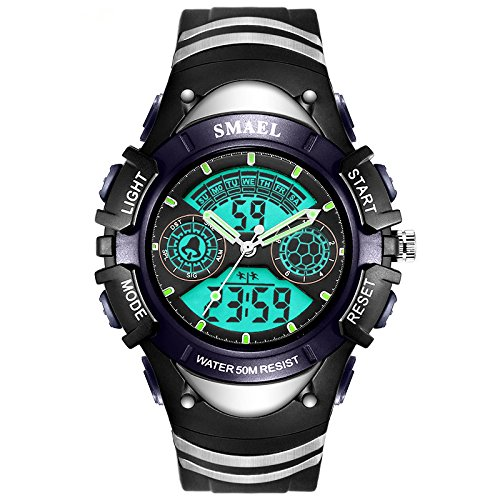 ELEOPTION Male Watches Waterproof With LED Digital Sports Digital Watch Dual Movt Calendar Chronograph And Rubber Band for Men Young Adult gifts (Blue)