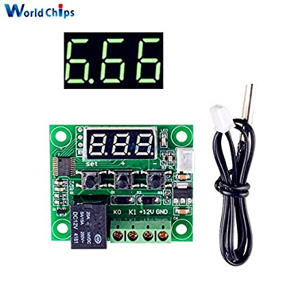 W1209 DC 12V Green LED Digital Thermostat Temperature Control Thermometer Thermo Controller Switch Module Waterproof NTC
