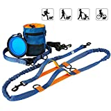 Lifidea 5 in 1 Hands Free Dog Leash for Dog Up to 150lbs with Adjustable Waist Belt Leash Dog Training Treat Pouch Collapsible Bowl, Extra Long Dual Bungees with Dual Padded Handles Leash for Jogging