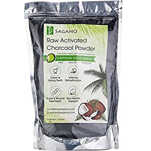 Activated Charcoal Powder 1 Pound by Sagano - Raw Organic Coconut Charcoal Bulk Food Grade - Premium Activated Charcoal Face Mask Coconut Powder - Natural Charcoal Teeth Whitening Toothpaste Detox