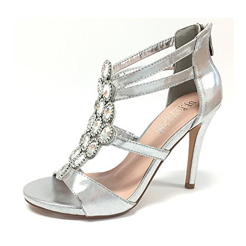 Women Macy Crystal Embellished Vamp High Heel Wedding Prom Party Dress Sandal Silver 7 (Evening Prom Shoe Ladies Shimmer)