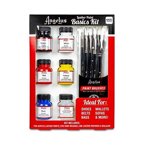 Angelus Leather Paint Basics Kit, Contains 1 Ounce Bottles of Black, White, Red, Blue, Yellow and Preparer, Plus a 5-Piece Angelus Brush Set (799-01-KIT) (Best Shoe Repair Los Angeles)