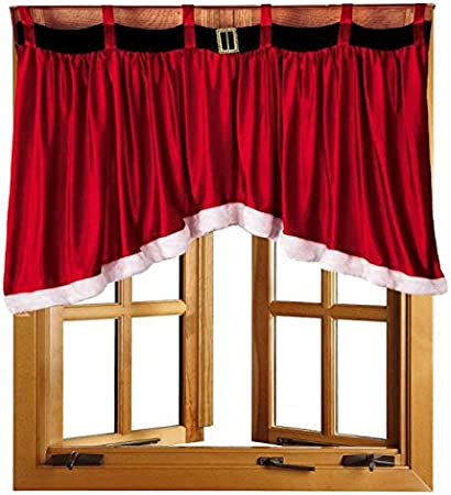 "Christmas Winter Decor Window Curtain Valance Cardinal Poinsettia Design 71/""x14/"""