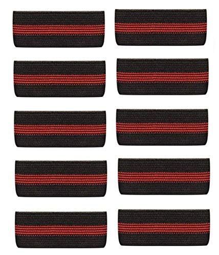 10-Pack Thin Red Line Mourning Band Black Fire Department Funeral Honor Guard Mourning Band Strap ()