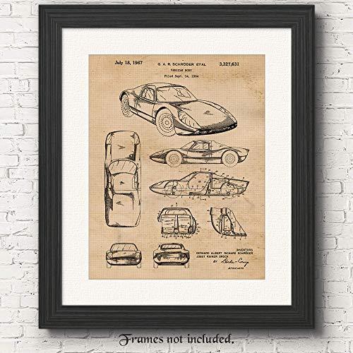 Original Porsche 904 Patent Poster Print - Set of 1 (One 11x14) Unframed Picture - Great Wall Art Decor Gifts Under $15 for Home, Office, Garage, Shop, Man Cave, Teacher, Vintage German Cars Fan