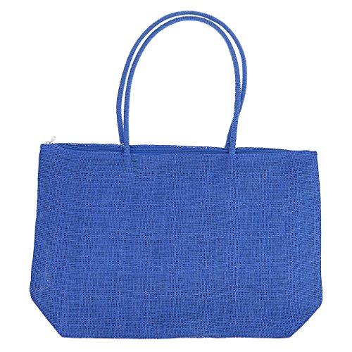 Women Straw Royal Lady Beach Bag Blue Shoulder Casual Satchel Messenger Black Purse Tote Sharplace txdw7Wn6t