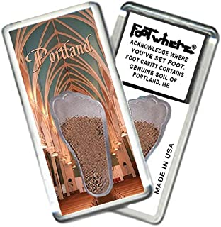 """product image for Portland, ME""""FootWhere"""" Magnet (PME202 - Heritage). Authentic Destination Souvenir acknowledging Where You've Set Foot. Genuine Soil of Featured Location encased Inside Foot Cavity. Made in USA."""