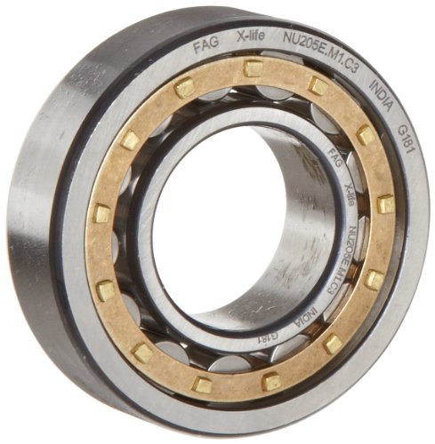 Fag Bearings - FAG NU218E-M1-C3 Cylindrical Roller Bearing, Single Row, Straight Bore, Removable Inner Ring, High Capacity, Brass Cage, C3 Clearance, 90mm ID, 160mm OD, 30mm Width
