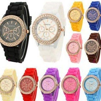 XJG South Korean Fashion geneva fashion silica gel jelly rhinestone quartz lady men's and women's watches Pink one size