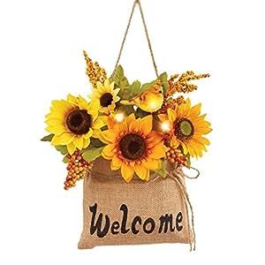 Lighted Sunflowers In Burlap Bag Door Decor