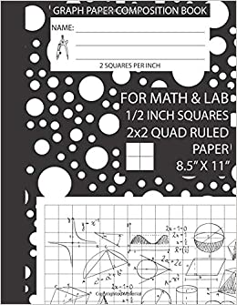 graph paper composition book 1 2 inch squares 8 5 x 11 for math and