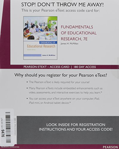 Fundamentals of Educational Research, Enhanced Pearson eText -- Access Card (7th Edition)