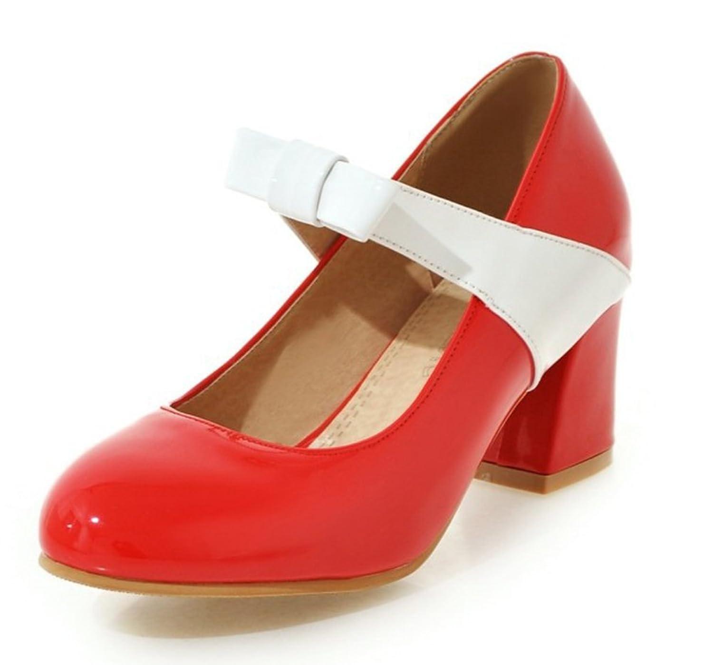 Aisun Women's Fashion Block Medium Heels Dress Slip On Mary Jane Pumps Shoes With Bows
