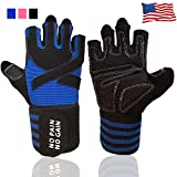 Weight Lifting Gloves for Women Men Work Out Gym Gloves Crossfit with Wrist Wraps Support, Anti-Slip Grip Half Finger Gloves for Exercise, Weightlifting Hanging,Rowing,Biking,Training (Blue, S)