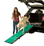 Pet Gear Tri-Fold Pet Ramp with SupertraX, Black/Green