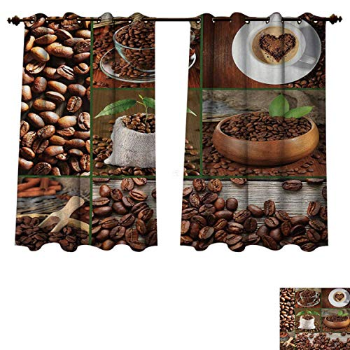 Anzhouqux Brown Blackout Thermal Backed Curtains for Living Room Collage of Coffee Beans in Cups and Bags with Green Leaves on Wooden Table Photo Customized Curtains Brown Green W63 x L63 inch ()