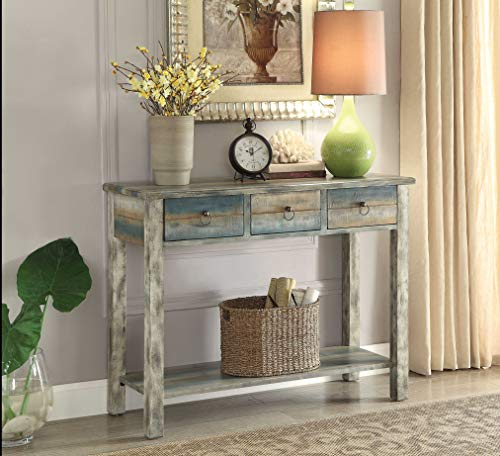 Acme Furniture 97257 Glancio Console Table, One Size, Antique White & Teal (Console Cabinet Asian)