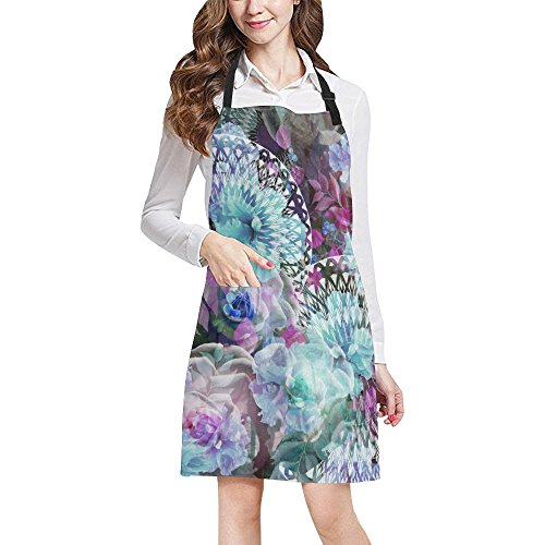InterestPrint Hibiscus Floral Dahlias Flowers Art Chef Kitchen Apron, Adjustable Strap & Waist Ties, Front Pockets, Perfect for Cooking, Baking, Barbequing, Large Size by InterestPrint