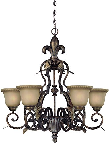 Jeremiah 25726-BBZ Devereaux 6 Light Chandelier with Distressed Mocha Etched Glass, Burleson Bronze - Tuscan Style Chandeliers