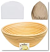 9 Inch Banneton Proofing Basket Set - for Professional and Home Bakers (Sourdough Recipe) Bowl Scraper and Brotform Cloth Liner for Rising Round Crispy Crust Baked Bread Making Dough Loaf Boules