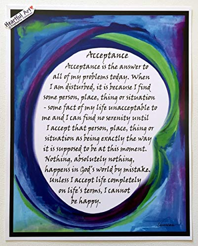 Acceptance 11x14 AA 12 step recovery poster - Heartful Art by Raphaella Vaisseau