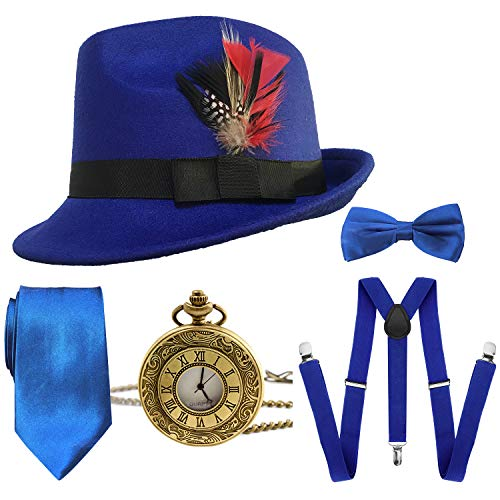 1920s Mens Gatsby Costume Accessories,Manhattan Fedora Hat w/Feather,Vintage Pocket Watch,Suspenders Y-Back Trouser Braces,Pre Tied Bow Tie,Tie (RoyalBlue)