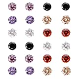 MBOX Assorted Color Wholesale Lot Cubic Zirconia,Faux Pearl,Resin Rose Flower,Acrylic,Crystal Shambhala Ball Stud Earrings (CZ Round Multi 4MM)