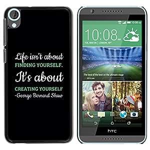 Smartphone Rígido Protección única Imagen Carcasa Funda Tapa Skin Case Para HTC Desire 820 Creating Creativity Black Message Text / STRONG