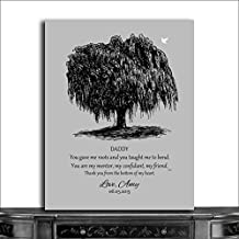 9.5x12 Metal Art Print Personalized Gift For Dad Black Willow Tree on Gray Background Father of Bride Parents Fathers Day Gift From Bride And Groom Custom Wedding Art