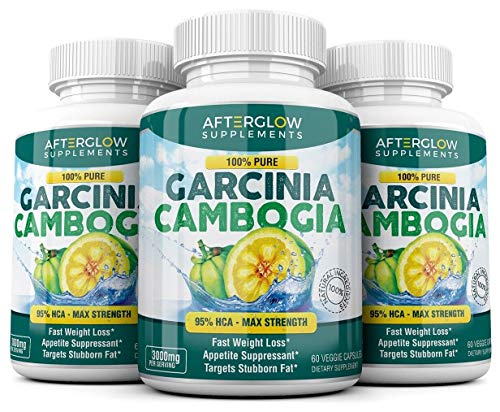 Pure Garcinia Cambogia Extract 95 HCA, 3000 mg Capsules Appetite Suppressant Weight Loss Pills, Burn Fat Boost Metabolism, Highest Potency Diet Pills for Men Women 3 Pack