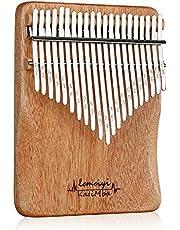 Kalimba Piano Pulgar 21 Teclas de dedo Piano Instrumento Musical con Instrucciones de Estudio y Martillo de afinación, Regalo para niños, adultos principiantes