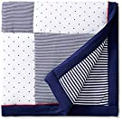 Little Me Baby Happy Sails Stroller Receiving Blanket, Navy Stripe, One Size