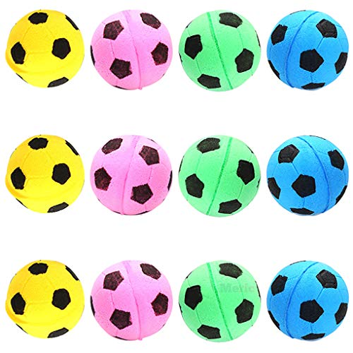 MERIC 12 Sponge Cat Balls - Pet-Safe Soft Foam Soccer Balls - for Exercise and Interactive Play - Sturdy, Bouncy, Noise Free - Mentally & Physically Stimulating -