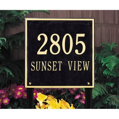 - Whitehall Products Square Standard Lawn 2-Line Address Plaque - Pewter/Silver