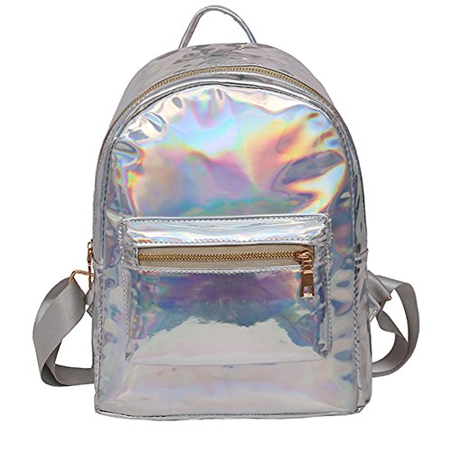 (Holographic Backpack Rainbow Shoulder Bag Metallic Satchel Shiny Travel Daypack for Kid Girl Women)