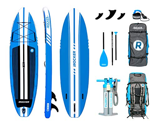 """iROCKER All-Around Inflatable Stand Up Paddle Board 10' Long 32"""" Wide 6"""" Thick SUP Package 